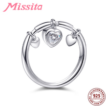 MISSITA 100% 925 Sterling Silver Forever Love Heart Finger Rings for Women Silver Jewelry Brand Crystal Ring Anniversary Gift brand design lock red heart ring for women vintage copper jewelry five star finger rings luxury brand fashion love jewelry