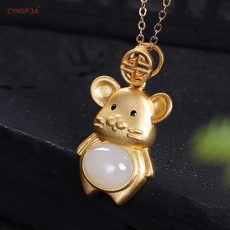 CYNSFJA Real Certified Natural Hetian White Jade 925 Sterling Silver Handmade Amulets Rat Jade Pendant High Quality Best Gifts
