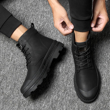 Leather Men Winter Shoes Fashion Boots Pointed Toe Mid-Calf For Male Size 38-46 *89550w