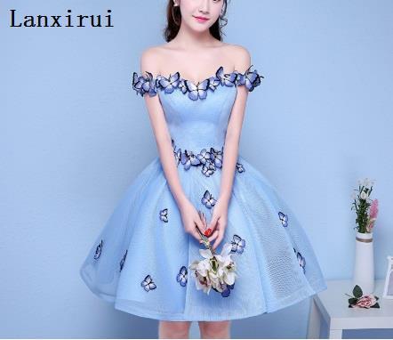 Sexy hors de l'épaule 3D papillon plissé robe de bal robes de soirée femmes bleu clair robe de nuit formelle robes Vestidos