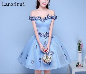 Sexy Off the Shoulder 3D Butterfly Pleated Ball Gown Party Dresses Light Blue Women Formal night Dress Gowns Vestidos(China)