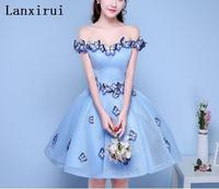 Sexy Off the Shoulder 3D Butterfly Pleated Ball Gown Party Dresses Light Blue Women Formal night Dress Gowns Vestidos