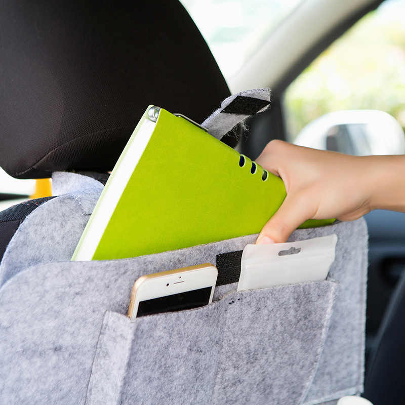 IMBABY Mobil Merasa Gantung Tas PU Kulit Bantalan Kursi Tas Penyimpanan dengan Peach Jantung Mobil Kursi Belakang Tas Penyimpanan Mobil tas Penyimpanan