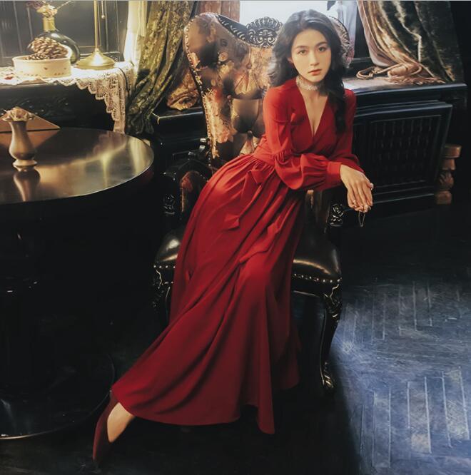 2019 automne Vintage Maxi Robe v-cou lanterne manches noeud noeud mince longue Robe Robe Femme Vestidos