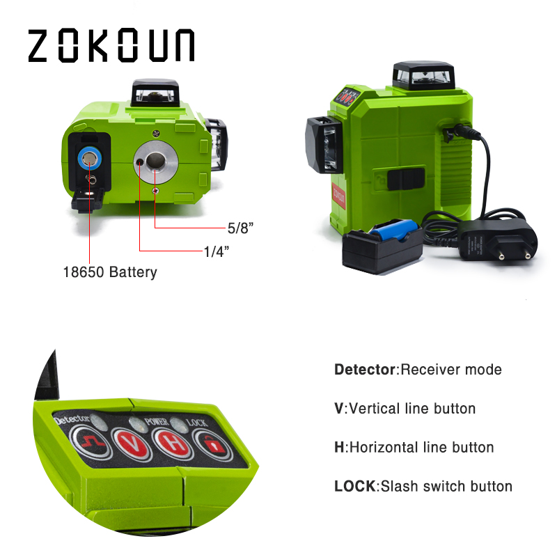 ZOKOUN 12 Lines 3D Self Leveling Green Laser Level 360 Degree Horizontal And Vertical Cross 3
