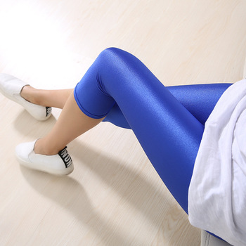 Plus Size Legging Fluorescent Color Women Leggings Elastic Spandex Multicolor Shiny Leggins Trousers For Girl