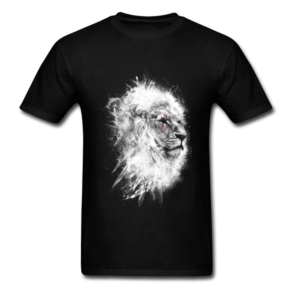 O-Neck Battle_scars_-_Lion_art_820 100% Cotton Fabric Mens T-Shirt Casual Short Sleeve Tops T Shirt High Quality Casual T-shirts Battle_scars_-_Lion_art_820 black