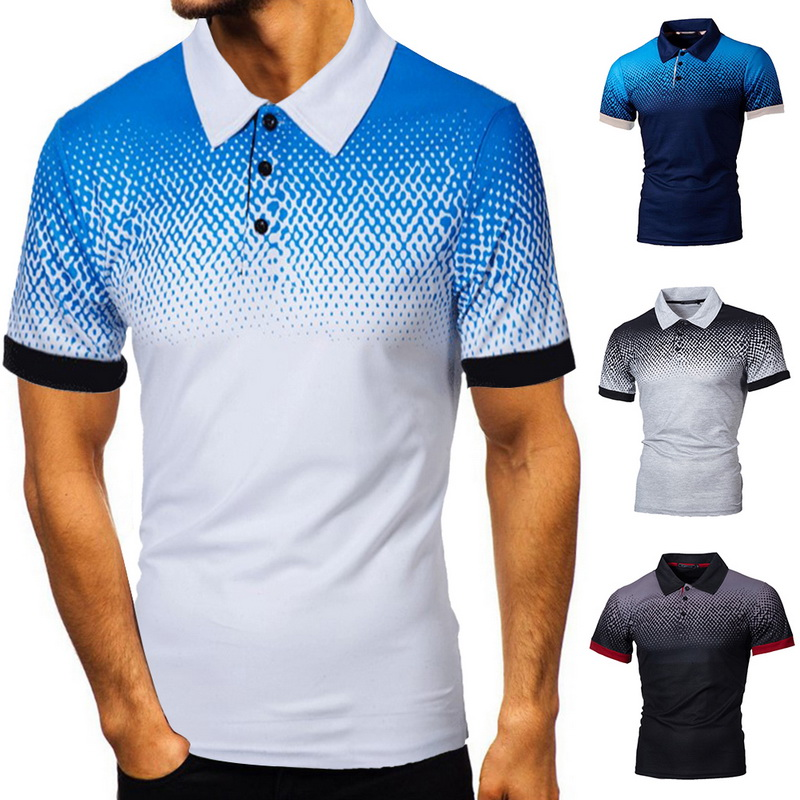 2020 New Cotton Short Sleeve Tee Shirt Men Gradient Poloshirt Mens Breathable Camisa Masculina Hombre Plus Size 5XL Shirt Tops
