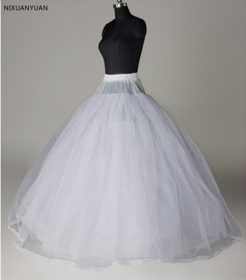 A Line Bridal Petticoat 4 Layers Tulle Underskirt Women Petticoat Crinoline Without Hoop Bridal Wedding Accessories 2020
