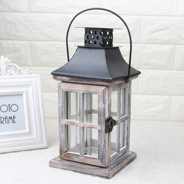 Handmade Vintage Lantern Hanging Exquisite Home European Style Gift Wood Metal Wedding Candle Holder With Handle Decoration 4