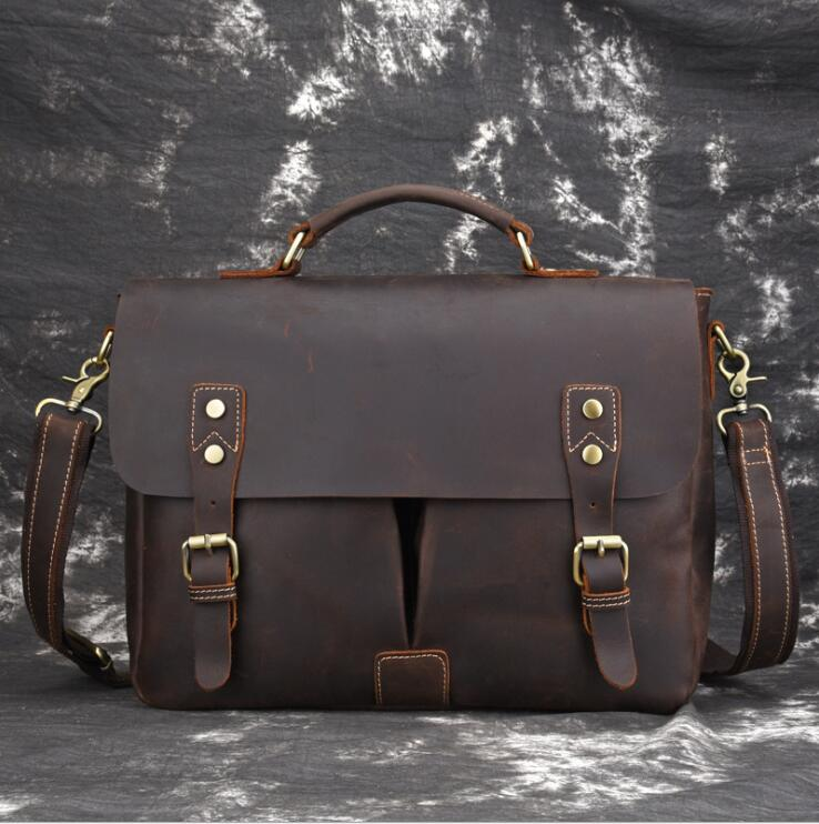 MAHEU Men Formal Business Briefcase Shoulder Bag Leather Casual Messenger BagGenuine Leather Male Female Crossbody Computer Bag