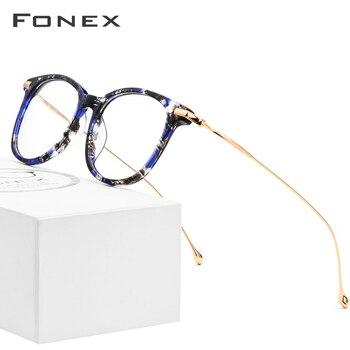 цена на FONEX Titanium Optical Glasses Frame Men New Fashion Vintage Square Prescription Eyeglasses Women Myopia Spectacle Eyewear 854