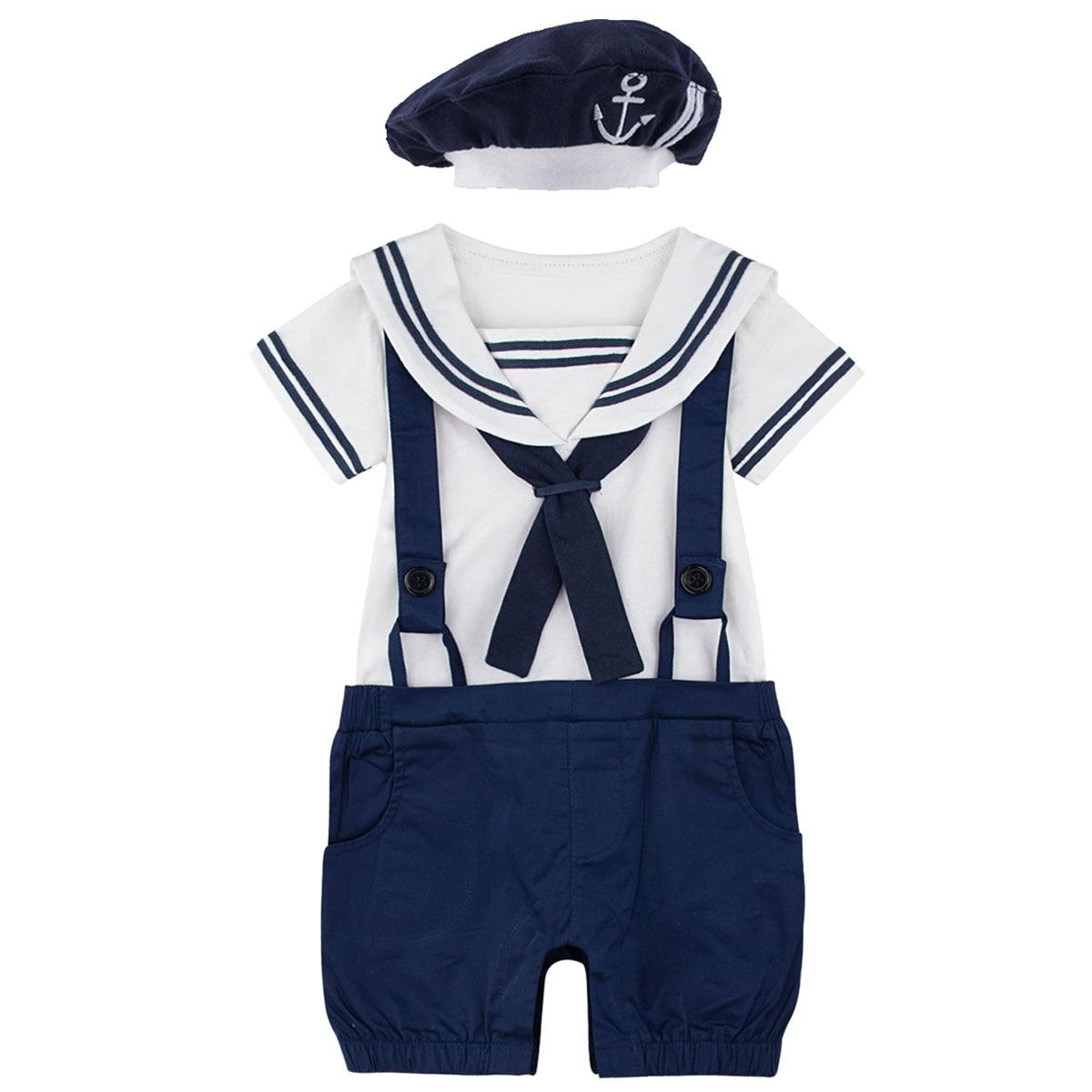 Newborn Baby Boys Girl Sailor Navy Style Romper Toddler Halloween 100% Cotton Suspender Jumpsuit Infant Braces with Hat Playsuit