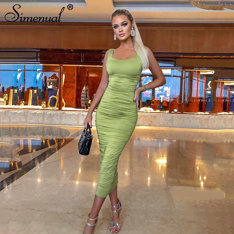 Simenual Ruched Solid Sexy Bodycon Party Dresses Women Fashion Sleeveless Skinny Clubwear Basic Hot Midi Dress
