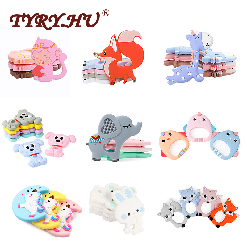 TYRY.HU 5PC Silicone Teethers Cute Cartoon BPA Free For Baby Teething Toys Baby Teething Rodent For Nursing Necklace Toddler Toy
