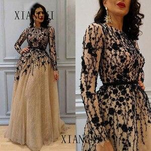 Image 1 - Платье женское вечернее вечернее платье2020 แชมเปญ dentelle robes de soirée cristaux Noirs Perles Robe formelle พฤศจิกายนทาง Abe