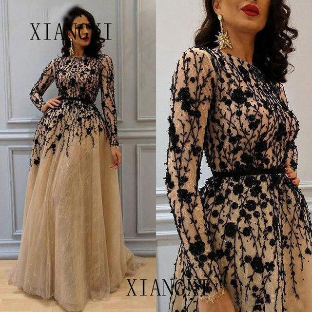 Платье женское вечернее вечернее платье2020 แชมเปญ dentelle robes de soirée cristaux Noirs Perles Robe formelle พฤศจิกายนทาง Abe