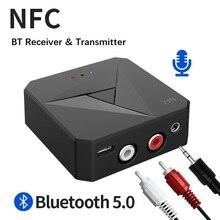 NFC Bluetooth 5.0 Ricevitore Audio Trasmettitore Stereo da 3.5mm AUX RCA Martinetti Adattatore Wireless Dongle Con Il Mic Per Auto TV gli Altoparlanti del PC