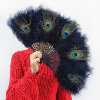 Abanico de plumas Para Boda, abanico Chino de plumas de pavo real...