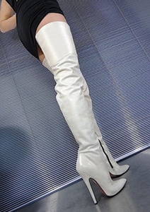 Image 2 - Sorbern 12cm 14cm 16cm 부팅 여성 지적 발가락 날카로운 발 뒤꿈치 무릎 부팅 유니섹스 빅 사이즈 크기 5 15