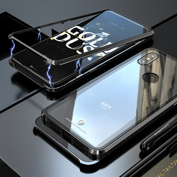 Magnetic Adorption Metal Bumper Glass Case For coque Xiaomi Mi Mix 3 Case Shockproof Hard Back Glass Cover For Xiaomi Mix3 Case