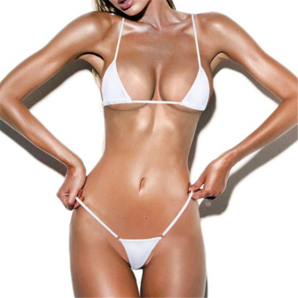 micro bikini 2019 new Sexy Solid color Sling simple Thong girl Beach Sun bath swimwear women swimsuit women biquini mini bikinis-0