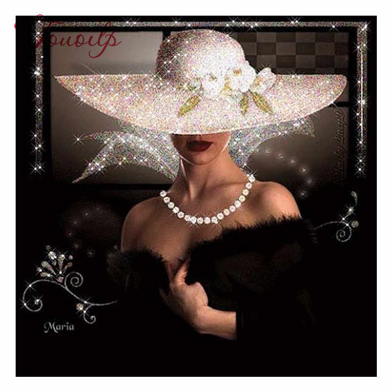5D Diy เพชรภาพวาดข้ามตะเข็บเต็มรูปแบบเพชรเย็บปักถักร้อยที่สวยงาม Lady สีขาวหมวก Mosaic Rhinestone เย็บปักถักร้อย Res