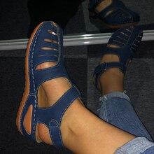 Mcckle Женщины Летние кожаные старинные сандалии с пряжкой Повседневная прошитая женская обувь однотонная женская обувь на платформе Большие размеры 34-44