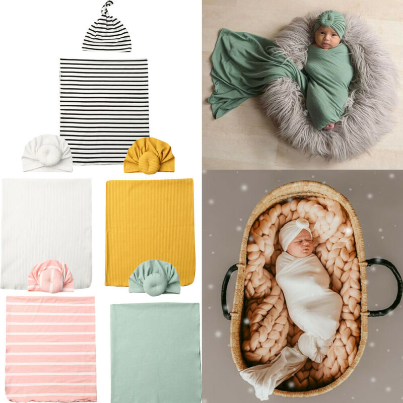 2pc Newborn Baby Boy Cocoon Swaddle Blanket Sleeping Swaddle Muslin Wrap Hat Set
