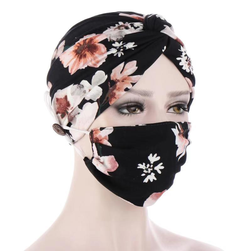 Twist Hood Mask Set Anti Pull Button Hood sciarpa musulmana In Stock fascia per donna fermaglio per capelli fasce per capelli hijab Lady Fashion warm
