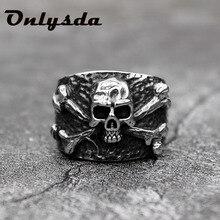 Vintage para hombre calavera cráneo anillo de acero inoxidable detalles Punk Rock joyas de motorista para hombre hueco regalo OSR430