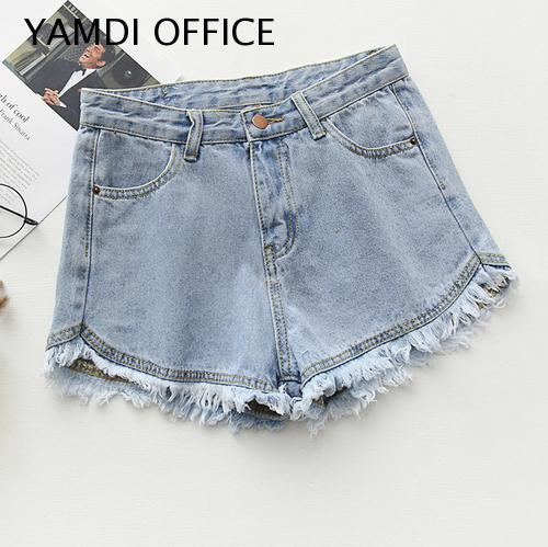 YAMDI 2019 NEW Women Solid Shorts Summer Casual Cute High Waist Slim Beach Tassel Jeans Women Bottoms Female Ladies Clothing