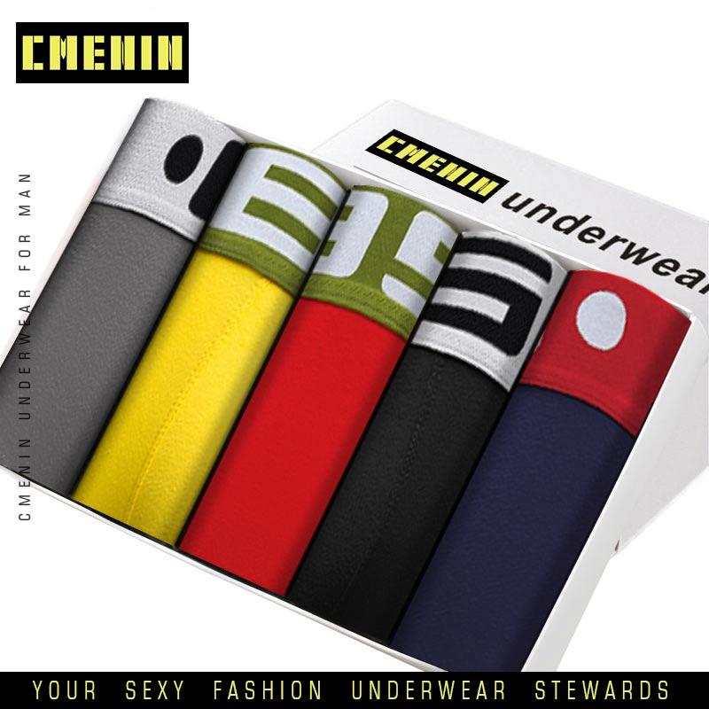 5pcs/lot Men Underwear Boxer Male Underpants Man Boxers Short Cotton Breathable Solid Male Panties Comfortable Brand Shorts BS40