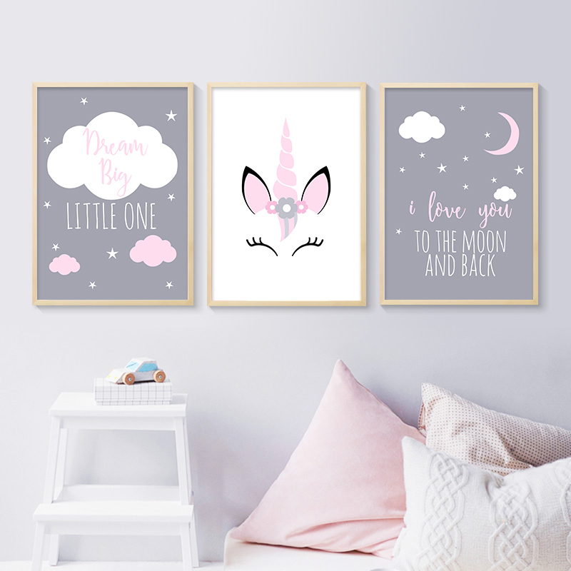 Unframed  Canvas Poster Baby Girl Nursery Quotes Wall Art  Moon Painting Nordic Kids Room Decoration Picture Unicorn