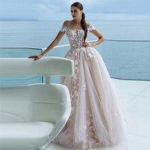 Verngo Ball Gown Wedding Dress Luxury Lace Appliques Wedding Gowns Off the Shoulder Elegant Bride Dress Pink Bruidsjurken light pink off the shoulder lace mini dress