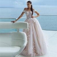 Verngo Ball Gown Wedding Dress Luxury Lace Appliques Wedding Gowns Off the Shoulder Elegant Bride Dress Pink Bruidsjurken