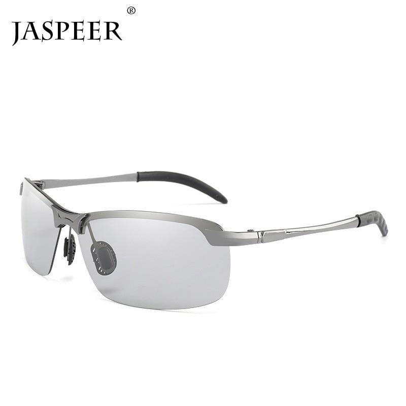 JASPEER 2019 Photochromic Sunglasses Men Polarized Chameleon Discoloration Sun glasses for men fashion rimless square sunglasses