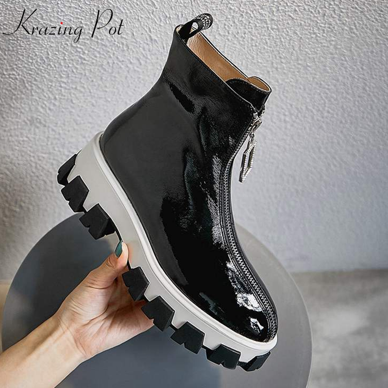 krazing pot cow leather crystal front zipper leisure round toe French romantic punk design thick bottom mid-calf boots l51