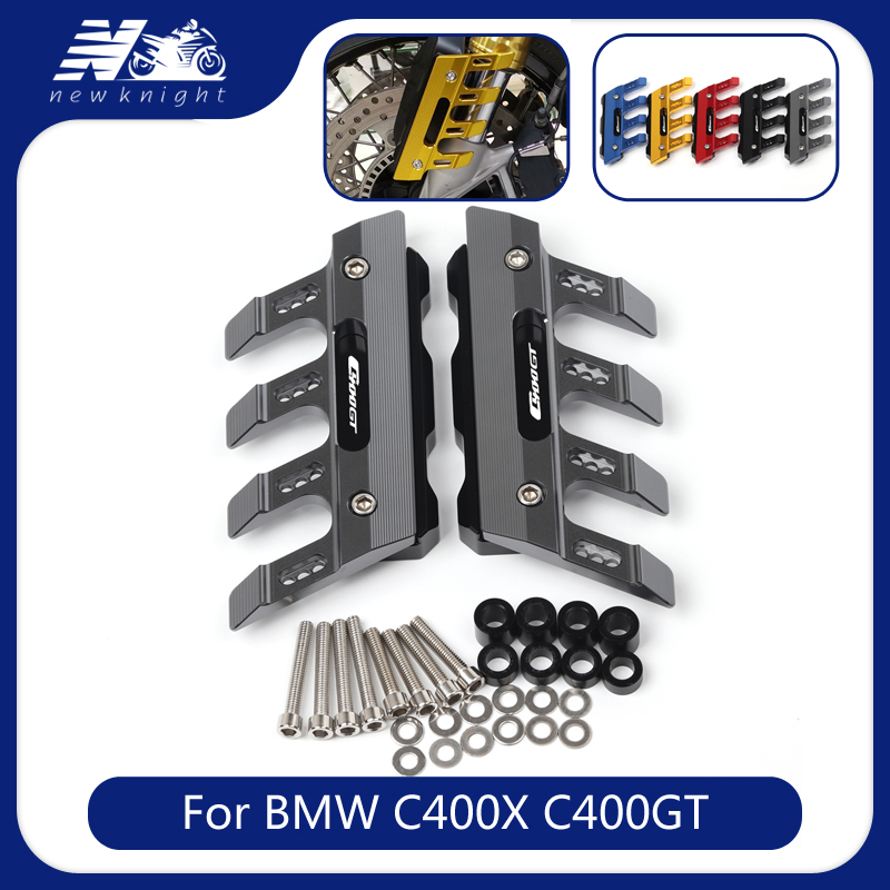 With Logo For BMW C400GT C400X c400 x gt Motorcycle Accessories CNC Aluminum Front Mudguard Anti-Drop Slider Protector Cover