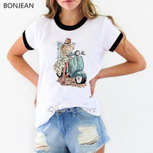 Mode paris style dame assis sur scooter impression t-shirt femmes aquarelle vintage t-shirt femme haut d'été femme tumblr vêtements(China)
