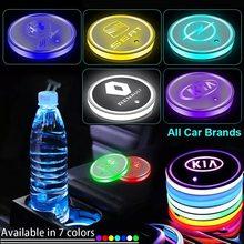 1pcs Car Cup lights Anti-slip Coaster For BMW SEAT DAF DS Renault OPEL Dodge Kia Maserati Car multicolor Drink Holder Logo Light