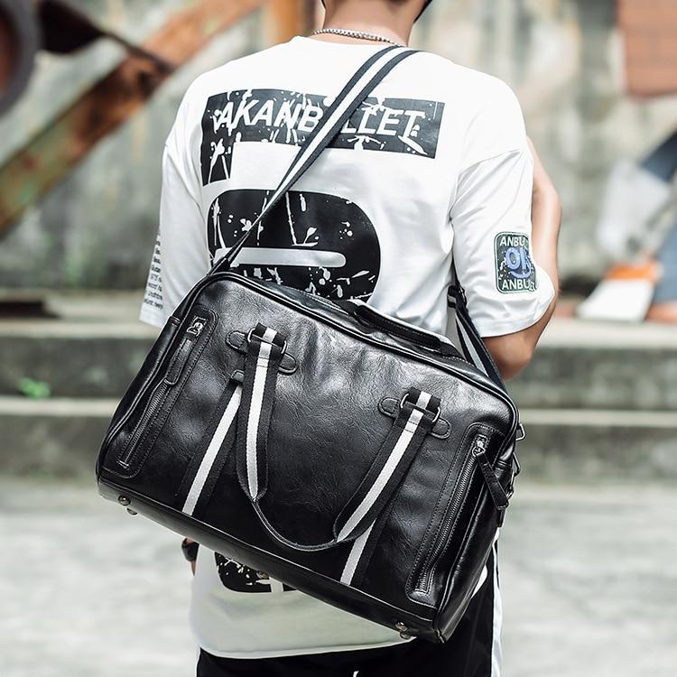 New Fashion Men's Handbag Leisure Travel Large Capacity Travel Bag High Quality Pu Men's Shoulder Messenger Bag