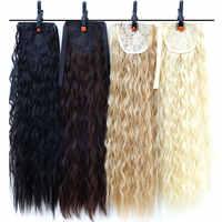 18 ''Afro Long crépus bouclés cordon queue de cheval pince à griffes en queue de poney Extensions de cheveux postiche résistant à la chaleur cheveux synthétiques Bu