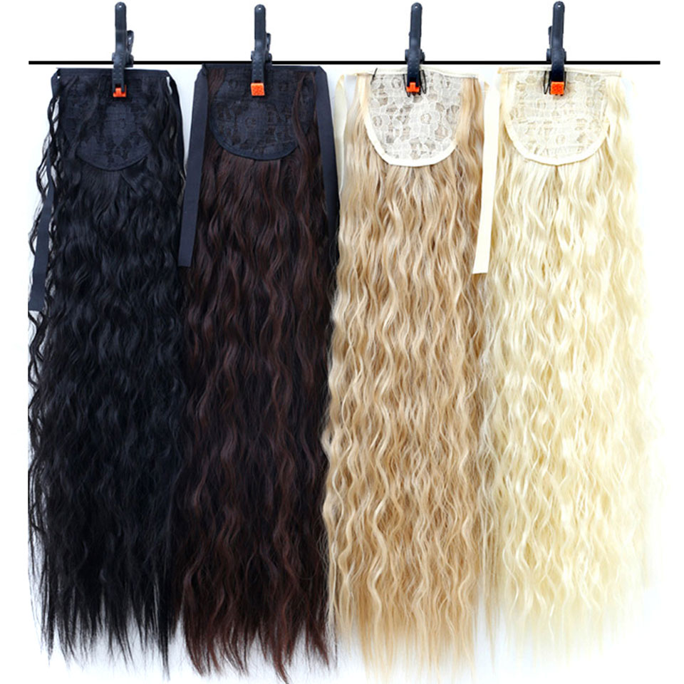 18'' Afro Long Kinky Curly Drawstring Ponytail Claw Clip In Pony Tail Hair Extensions Hairpiece Heat Resistant Synthetic Hair Bu