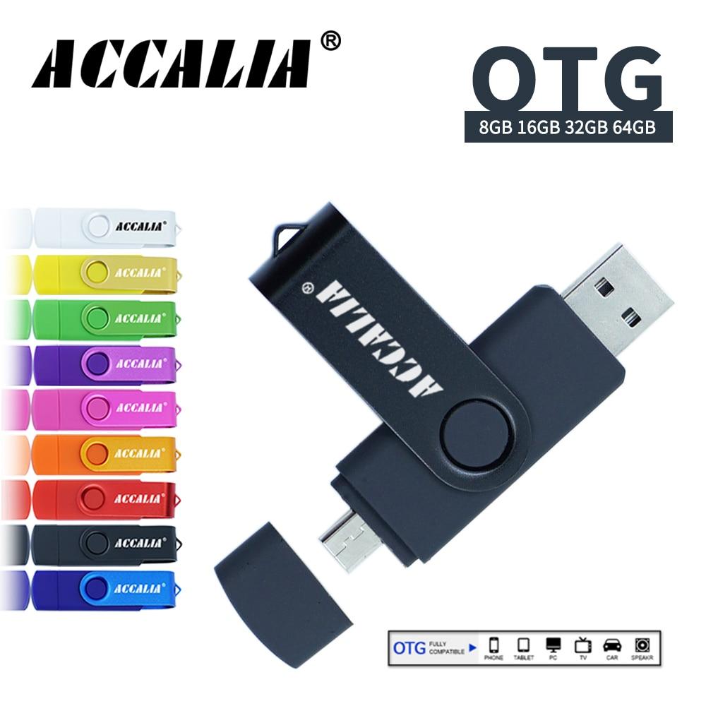 ACCALIA Pendrive 32GB Cel Usb Flash Drive 64GB Metal Pen Drive 128GB Memoria Usb Stick 16GB 8GB Flash Usb Memory 2.0 Type C OTG