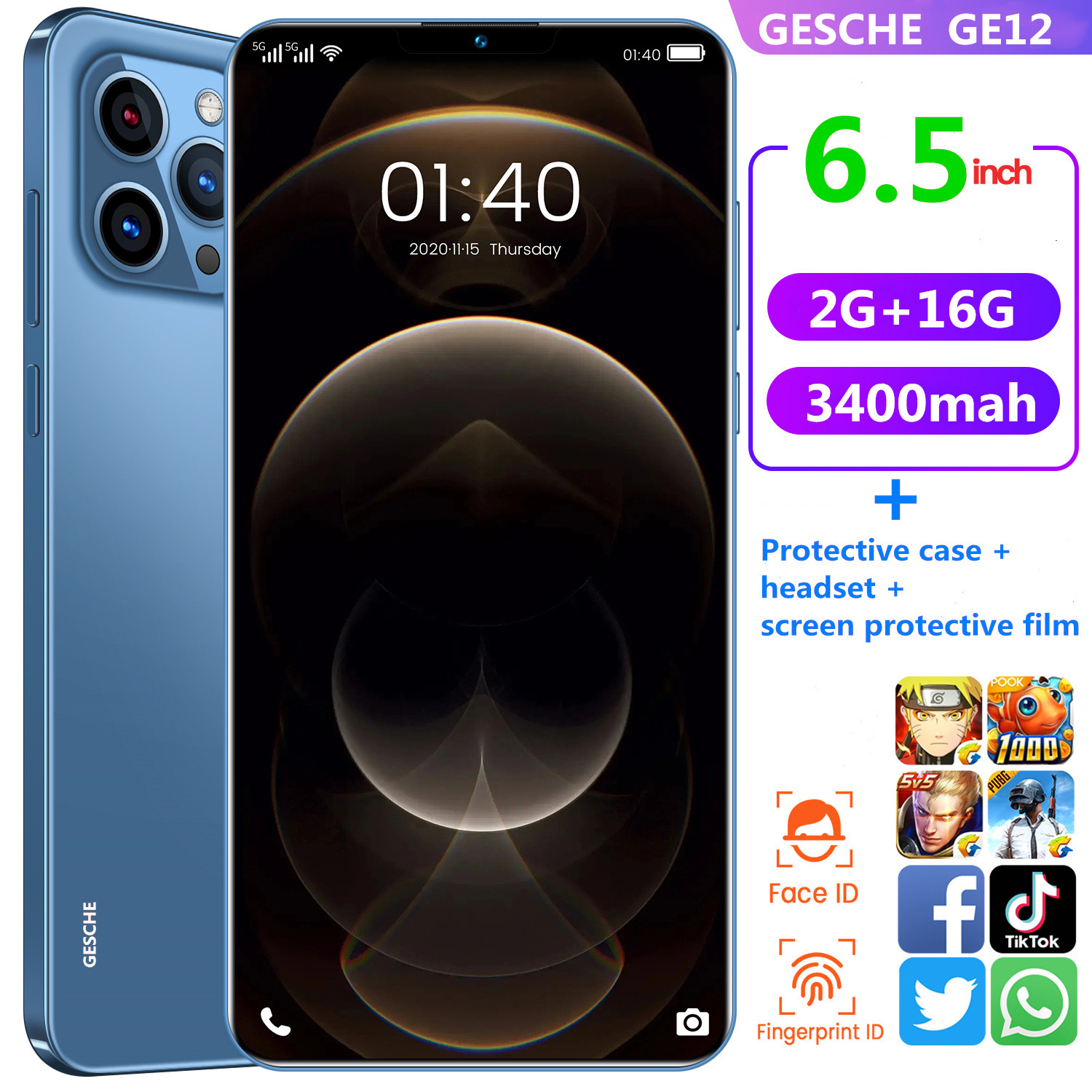 Gesche ge12 global phone 2gb ram + 16GB ROM Phone Case + headset + Screen Protector 6.5 inch face recognition 3400mah