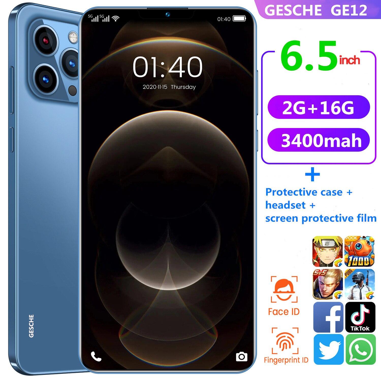 Gesche ge12 globale telefon 2gb ram + 16GB ROM Telefon Fall + headset + Screen Protector 6,5 zoll gesicht anerkennung 3400mah