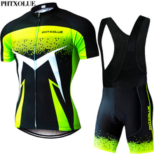 Phtxolue Summer Short Sleeve Men Cycling Clothing Breathable Bike Jerseys Set Mountain Bicycle Wear Maillot Ropa Ciclismo