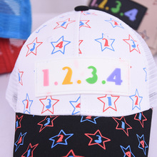 1234 color digital leather label mesh cap wholesale summer children outdoor sunscreen cute five-pointed star color matching hat creative color matching five pointed star pattern square shape pillowcase without pillow inner