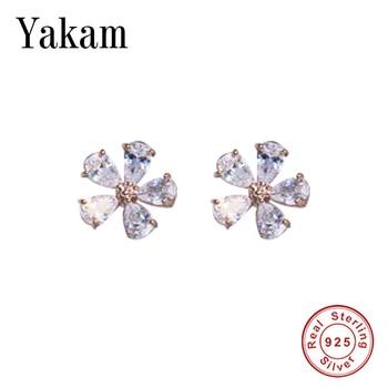 Clear Crystal Petal Flower Stud Earring 2020 Spring Gold Color 925 Sterling Silver Earrings For Women Girl Delicate Jewelry Gift недорого